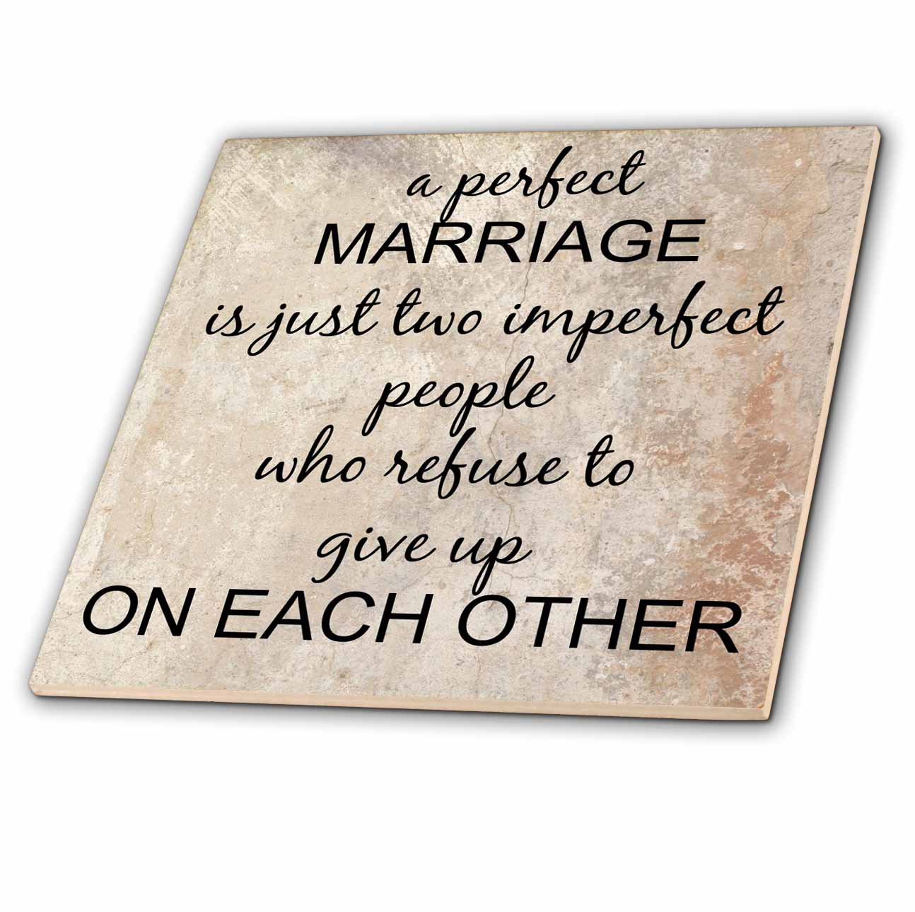 3dRose a perfect marriage, black lettering on picture of marble print background - Ceramic Tile, 12-inch