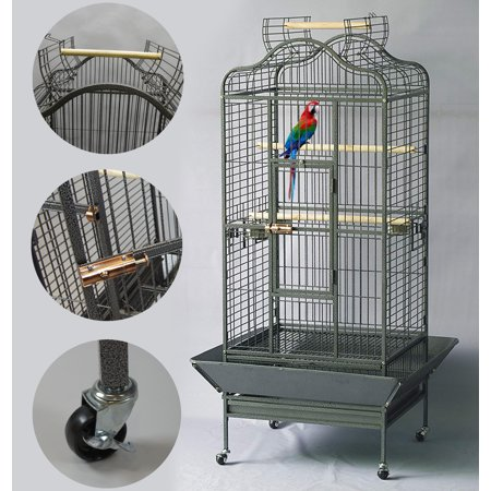 - Homey Pet  Large Parrot Bird Finch Macaw Cockatoo Cage Open Play Top Anti-Rust Black Hammer Spray W/ Casters Wheels 24