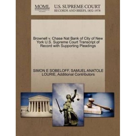 Brownell V  Chase Nat Bank Of City Of New York U S  Supreme Court Transcript Of Record With Supporting Pleadings