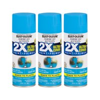 (3 Pack) Rust-Oleum American Accents Ultra Cover 2X Satin Oasis Blue Spray Paint and Primer in 1, 12 oz