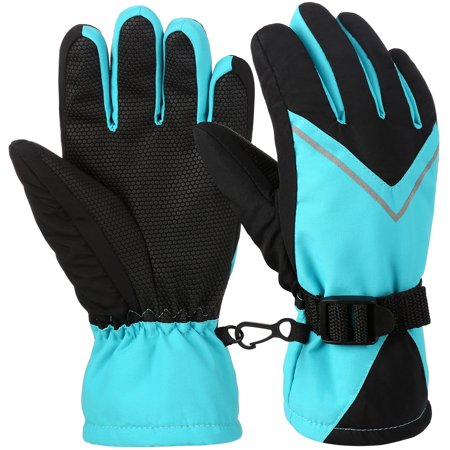 Kids Ski Gloves, Vbiger Waterproof Snow Snowboard Gloves Child Warm Winter Gloves Windproof Sports Gloves for Boys Girls, Lake Green, Aged 8-10 (Skids Ski Gloves)