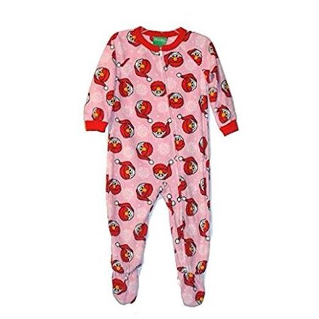 Sesame Street Toddler Girl's Santa Elmo Pink Fleece Footed Christmas Pajama Sleeper