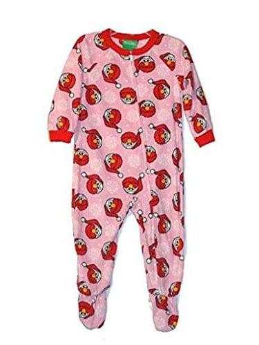 Sesame Street Toddler Girl's Santa Elmo Pink Fleece Footed Christmas Pajama Sleeper, Pink, Size: 3T