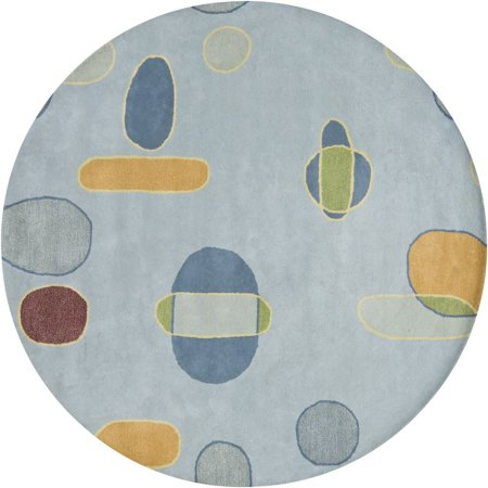 - Contemporary Lost Link Collection Area Rug in Blue-Orange and Oval, Rectangle, Round, Runner Shape