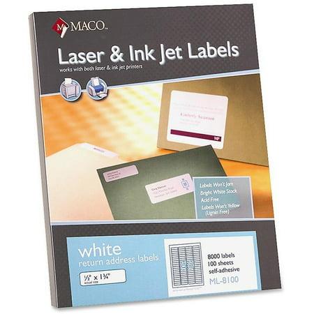 MACO White Laser/Ink Jet Return Address Label