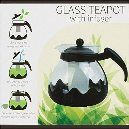 Kole OC840 Glass Teapot with Infuser, 42oz./ 1.25