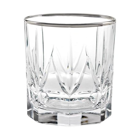 Platinum Double Old Fashioned (Chic Set of 6 Double Old Fashion Tumblers with Platinum Trim By Lorren Home Trends)