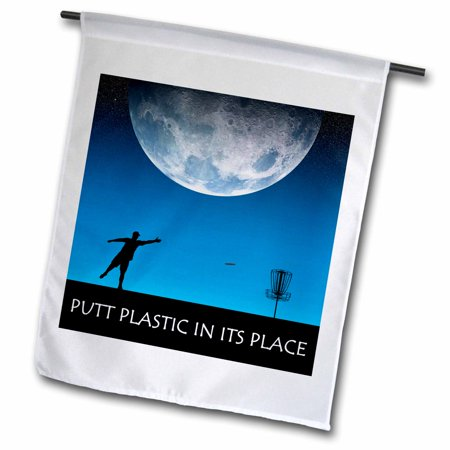 3dRose Putt Plastic In Its Place 6 silhouette of frisbee disc golfer putting under the moon - Garden Flag, 12 by (Parts Of The Philippine Flag And Its Meaning)