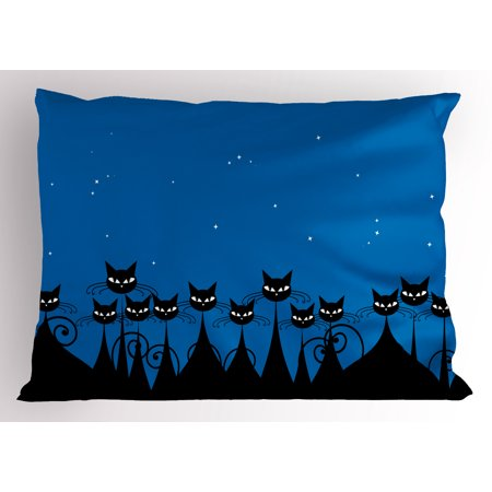 Night Pillow Sham Artistic Graphic Crowd of Stylized Black Cats and Starry Sky on the Backdrop, Decorative Standard Queen Size Printed Pillowcase, 30 X 20 Inches, Blue Black White, by Ambesonne - Sky Backdrop