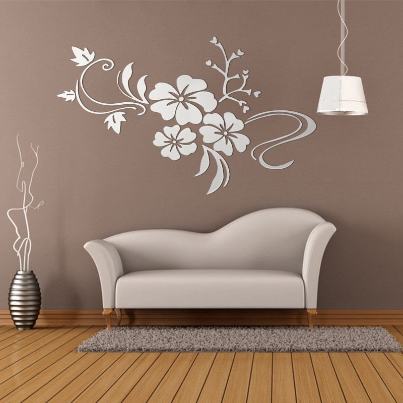 DIY Retro 3D Removable Mirror Flower Art Wall Sticker Acrylic Decal TV Living Room Home Decor