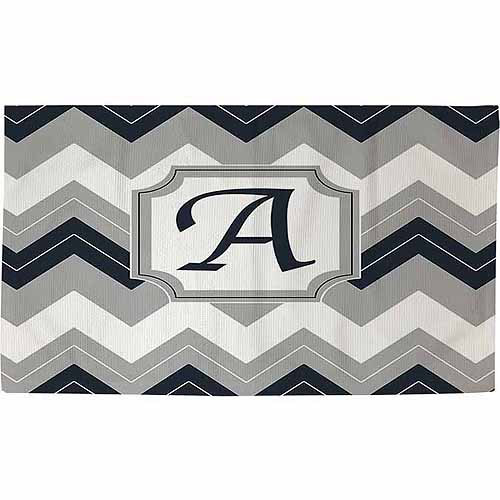 Thumbprintz Chevron Monogram Rug, Blue