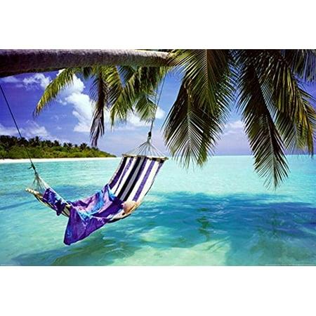 Tropical Beach   Hammock With Towel And Hat 36X24 Coastal Art Print Poster Romantic Beach Ocean Tropics