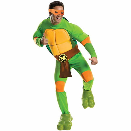 Deluxe Teenage Mutant Ninja Turtle Costume (Teenage Mutant Ninja Turtles Deluxe Michelangelo Adult Halloween)