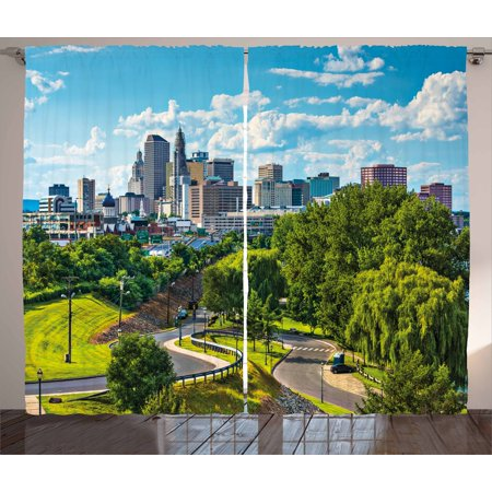 United States Curtains 2 Panels Set, Hartford Connecticut USA Downtown Cityscape Aerial View Modern Life, Window Drapes for Living Room Bedroom, 108W X 84L Inches, Sky Blue Green Grey, by Ambesonne