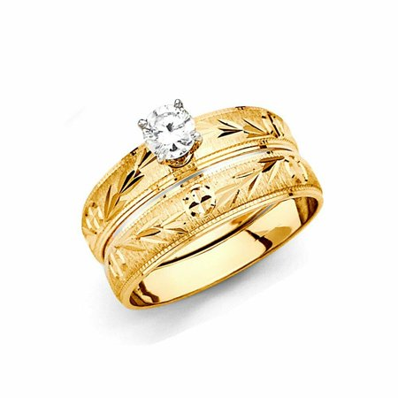 Solid 14k Tri Color Yellow Gold 4 Prong CZ Cubic Zirconia Brilliant Round Diamond Cut Wedding Band Engagement Ring (0.25 ct.), 2pc