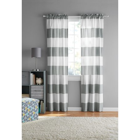 Your Zone Cabana Stripe Curtain Panel, Set of 2 ()