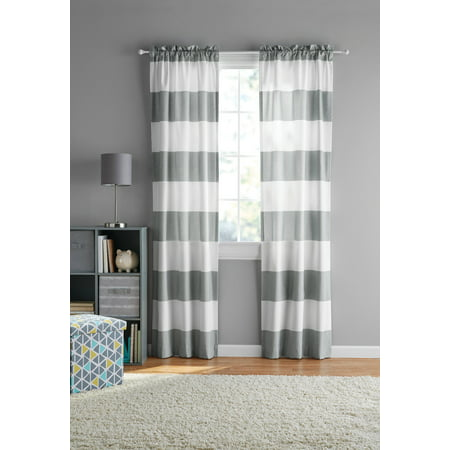 2 Panel Curtain Set - Your Zone Cabana Stripe Curtain Panel, Set of 2