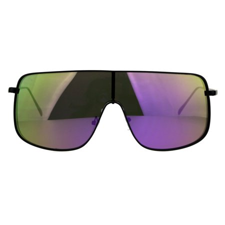 Futurism Metal Rim Shield Color Mirror Lens Mens Sunglasses Black Purple