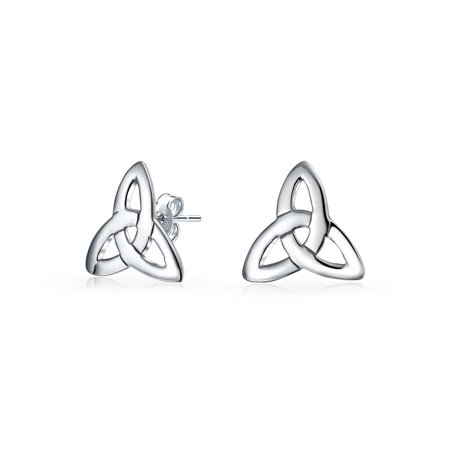 Irish Triquetra Celtic Trinity Knot Tiny Stud Earrings For Women For Men 925 Sterling Silver Polished Finish
