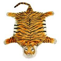 "#PlushPals 43"" x 35"" Tiger King Rug Throw Stuffed Animal Plush Toy Soft & Fluffy Exotic Animal Print - Orange"