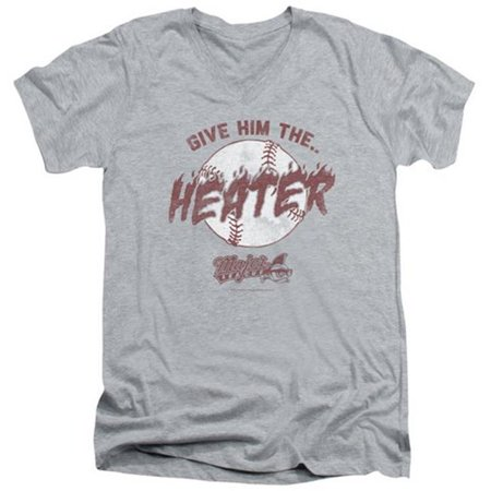 Trevco Major League-The Heater Short Sleeve Adult 30-1 V-Neck Tee, Heather - Medium