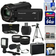 Panasonic HC-VX981 Wi-Fi 4K Ultra HD Video Camera Camcorder with 64GB Card + Hard Case + Tripod + LED Light + Mic + Filters + Tele/Wide Lens Kit