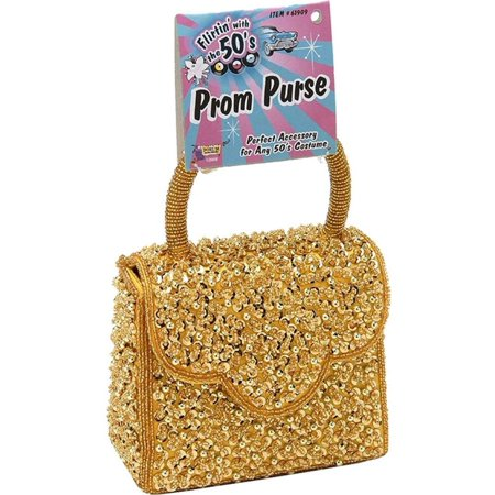 50'S Prom Gold Glitter Handbag Purse Clutch Halloween Costume (Gold Handbag)