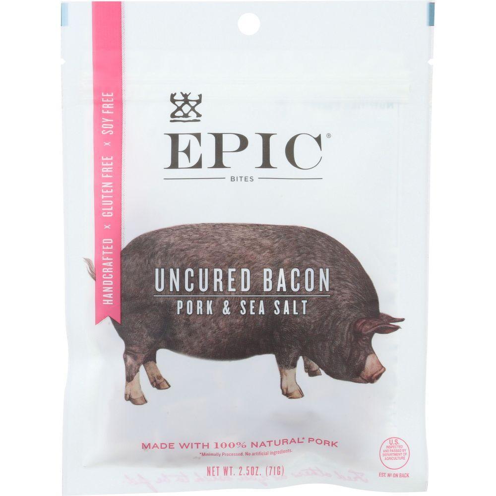 Epic Bites Pork & Sea Salt Uncured Bacon, 2.5 Oz (Pack Of 8)