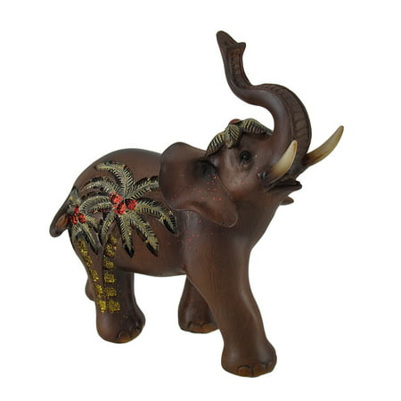Trunk Up Elephant w/Golden Palm Tree Accents Faux Carved Wood Statue