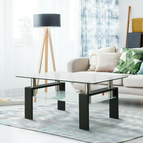 New Arrival Modern Glass Coffee Table Shelf Wood Living Room Furniture Rectangular Black USA