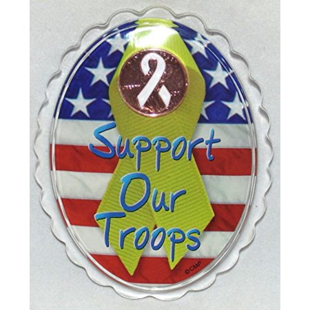 Support Our Troops Collectible Patriotic Limited Edition Acrylic Penny Charm Magnet (Magic Penny Magnet Kit)