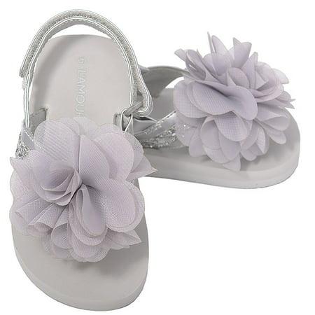 Silver Sequin Strap Flower Flip Flop Sandals Toddler Girl 5-10 - Flower Girl Sandals