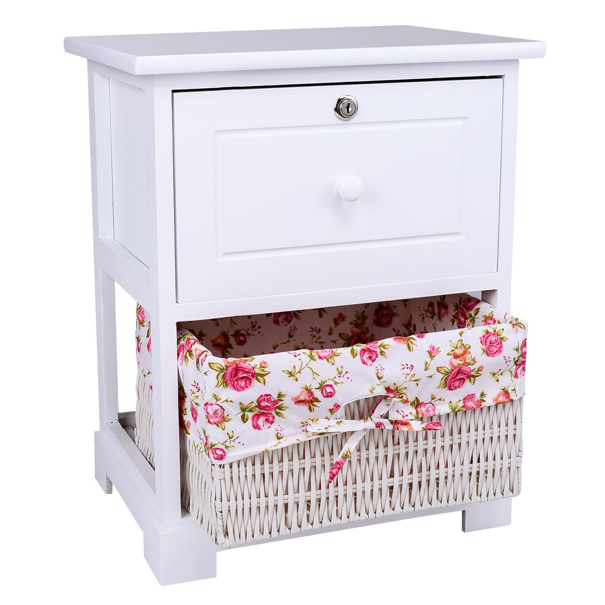 Gymax 2PCS 2 Tiers Wood Nightstand1 Drawer Bedside End Table Organizer W/Basket White - image 6 of 8
