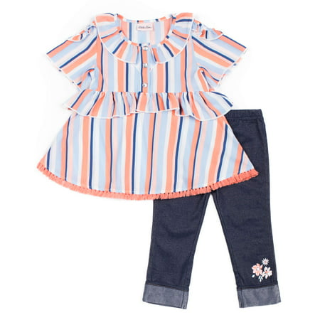 Short Sleeve Printed Ruffled Crepe Top & Capri, 2pc Outfit Set (Baby Girls & Toddler -