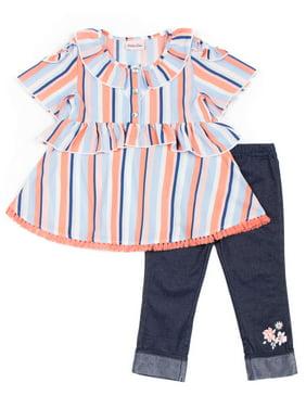 11ba64eb68 Product Image Short Sleeve Printed Ruffled Crepe Top & Capri, 2pc Outfit  Set (Baby Girls &. Product TitleLittle LassShort ...