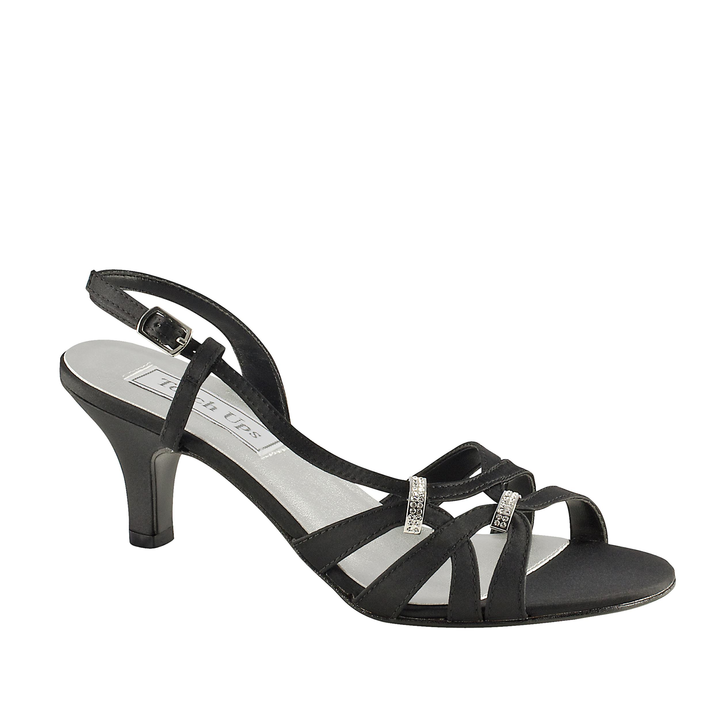 Touch Ups Womens Donetta Leather Slingback Sandal,Black Satin,10 W US