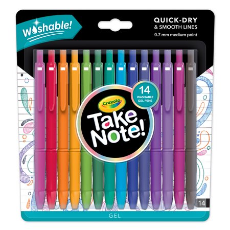 Crayola Take Note! Washable Gel Pen Set in Assorted Colors, 14