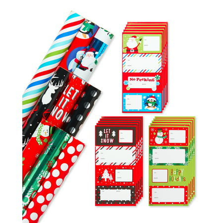 American Greetings 9-Count, Christmas Wrapping Paper and Gift Tag Variety Set ()