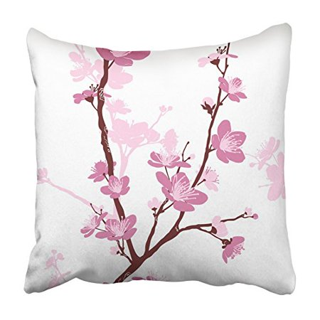 CMFUN Pink Japanese with Styled Spring Cherry Blossoms Tree Flower Chinese Branch Pillowcase Cushion Cover 20x20 inch