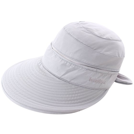 60a287112 Women's UPF 50+ UV Sun Protective Convertible Beach Hat Visor Grey