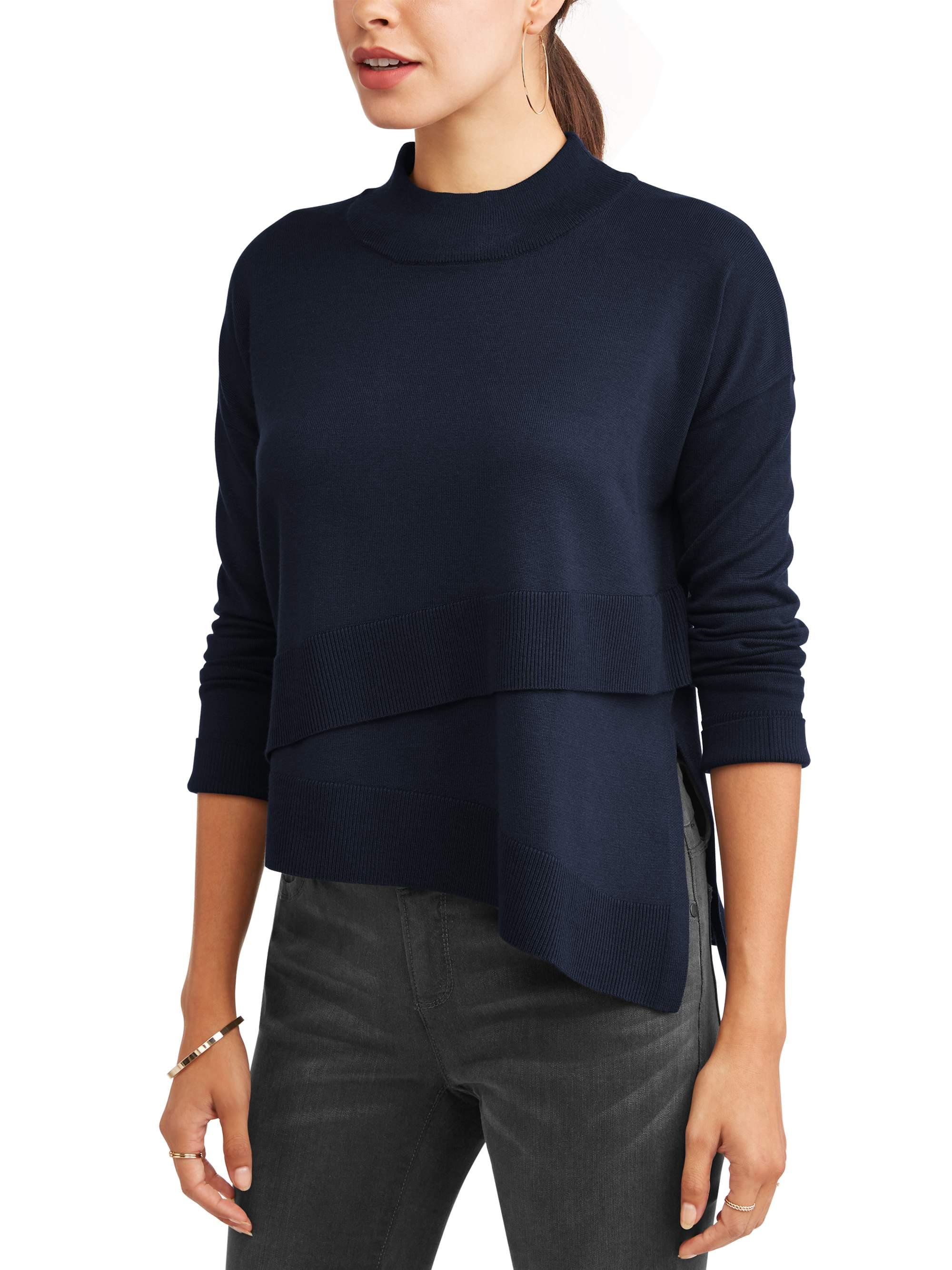 Heart N Crush Women's Layered Front Mock Neck Sweater