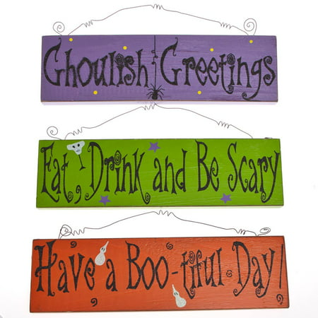 Wooden Halloween Glitter Signs - Halloween Sign Offs
