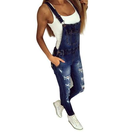 JDinms Women's Stylish Ripped Denim Overalls ()