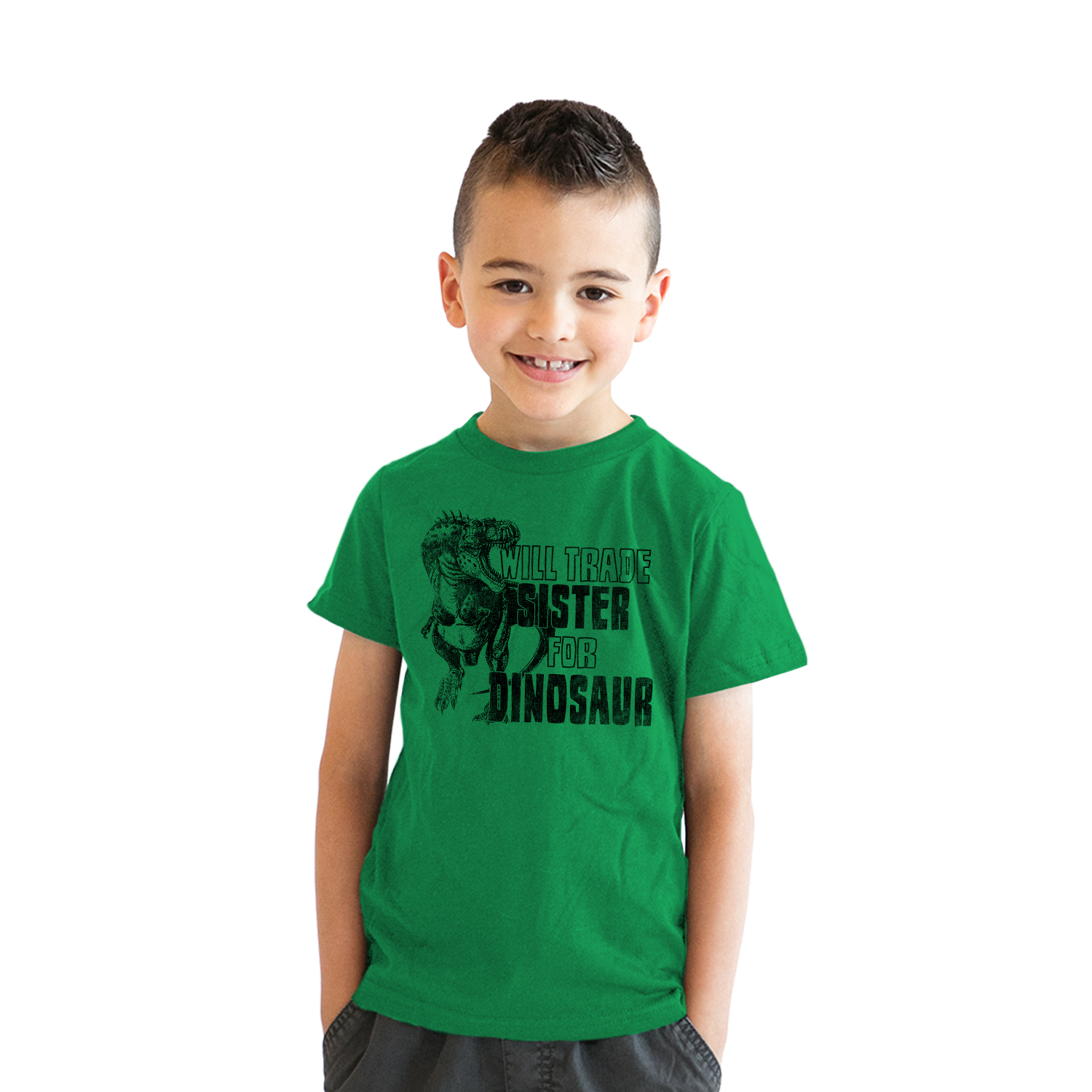 Youth Will Trade Sister For Dinosaur Funny Cool Dino T-Rex T shirt for Kids