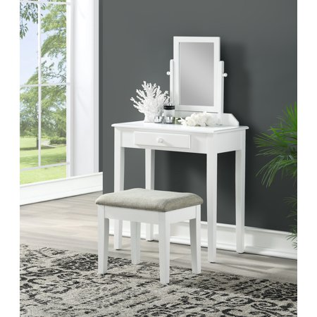 Single Mirror Vanity with Upholstered Stool, White