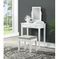 Single Mirror Vanity with Upholstered Stool, Multiple Colors