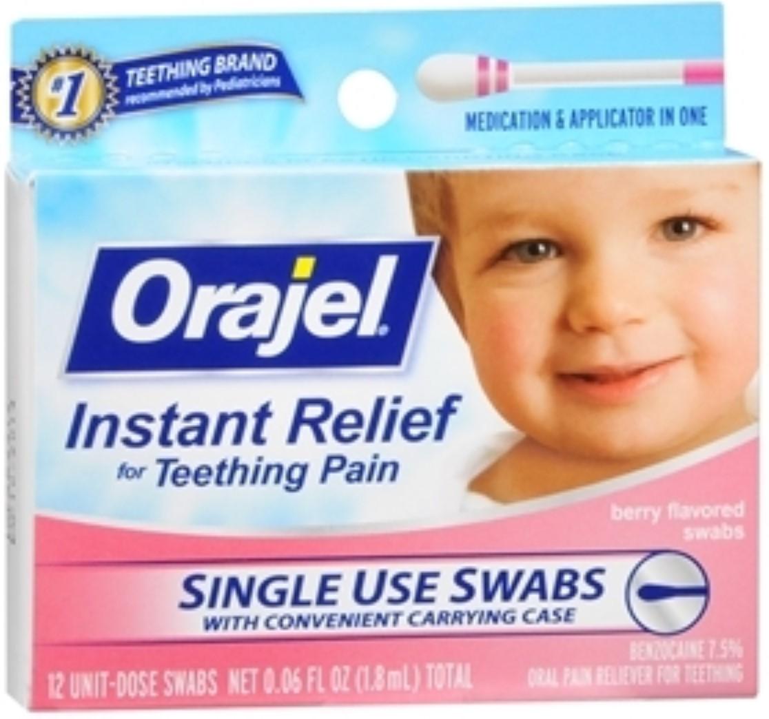 Baby Orajel Fast Teething Pain Relief Teething Swabs Berry 12 Each (Pack of 2)