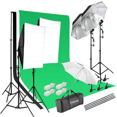 Ktaxon Photo Studio Photography Kit 4x Light Bulb Lighting 3 Color Backdrop Stand Set Lighting Photography Kit