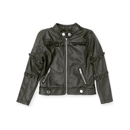(Urban Republic Girls Black Ruffled Faux Leather Motorcycle Jacket)