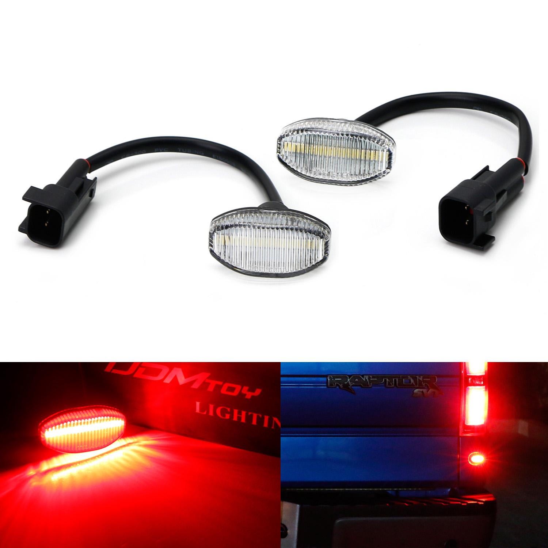 iJDMTOY 2-Piece Clear Lens Brilliant Red LED Rear Bumper/Tailgate Side Marker Lights For 2010-2014 Ford Raptor
